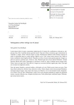 Latex Vorlage Für Den Briefkopf Der Martin Luther Universität Halle